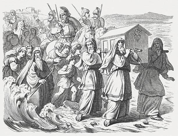 Israel crossed the Jordan (Joshua 4), wood engraving, published 1877 vector art illustration