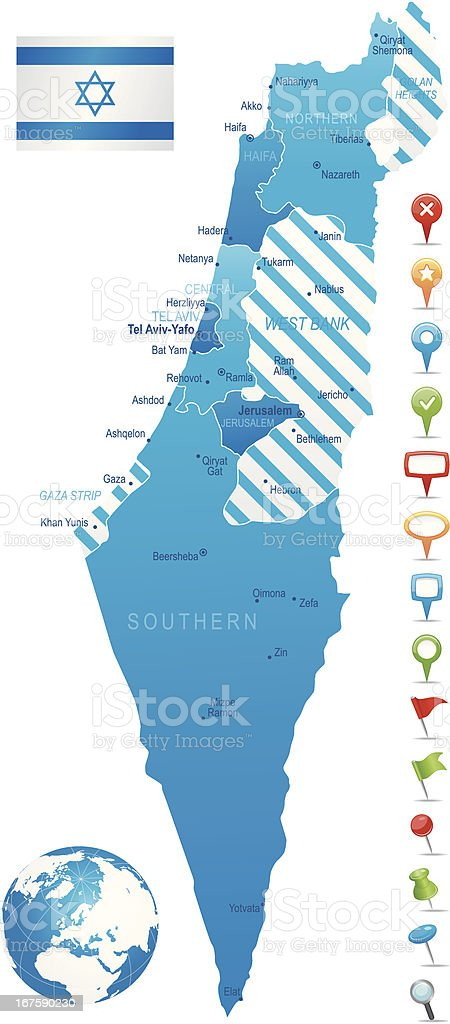 Israel - highly detailed map royalty-free stock vector art