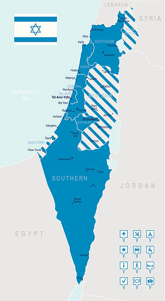 israel-sehr detaillierte karte - haifa stock-grafiken, -clipart, -cartoons und -symbole