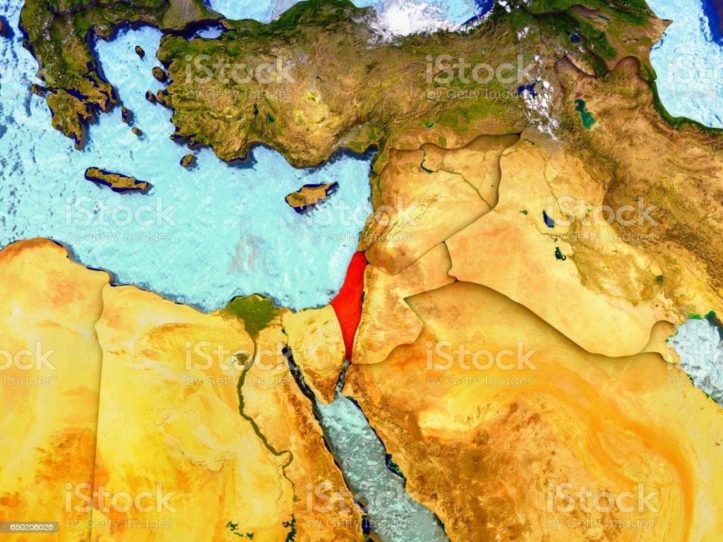 Israel on illustrated globe vector art illustration