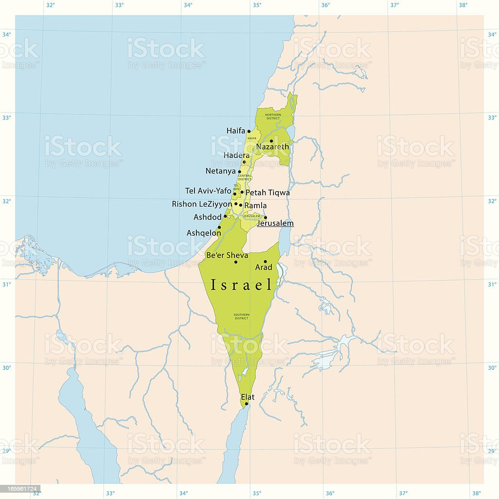 Israel Vector Map vector art illustration