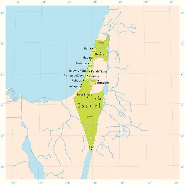 israel vektor-karte - haifa stock-grafiken, -clipart, -cartoons und -symbole