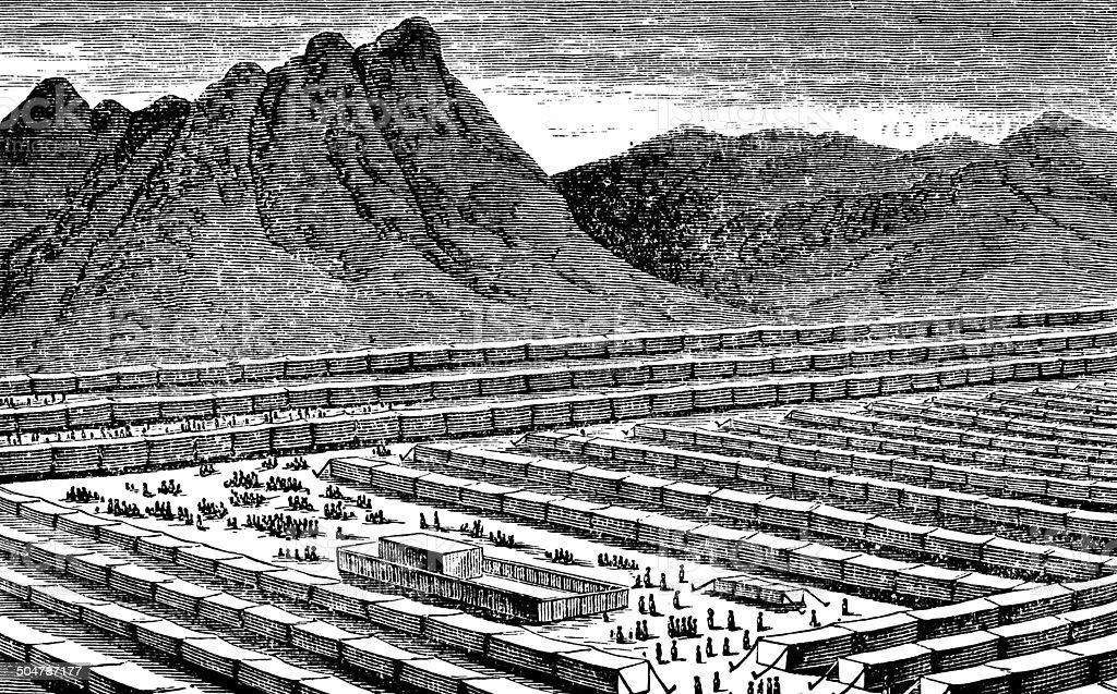 Israelite Camp In The Wilderness vector art illustration