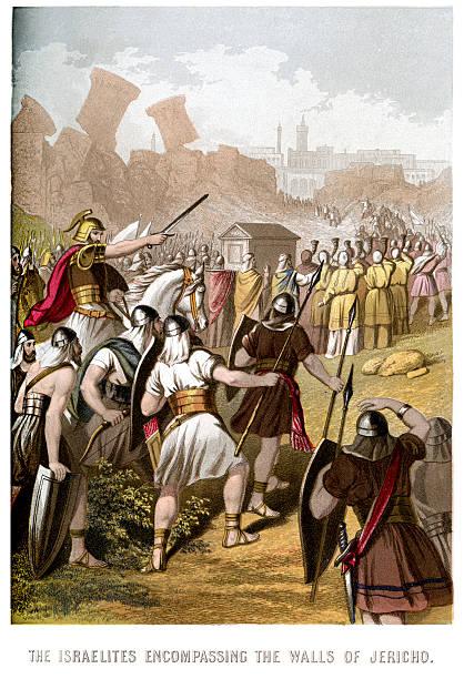 Israelites attacking the Walls of Jericho vector art illustration