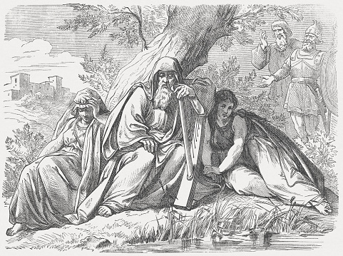 Israelites in Babylonian captivity, wood engraving, published in 1877