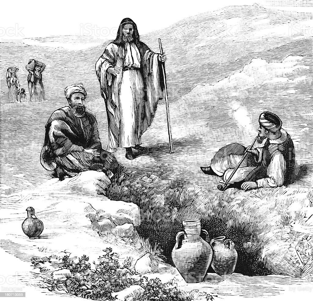 Israelites sitting around Jacob's Well near Mount Gerizim royalty-free stock vector art
