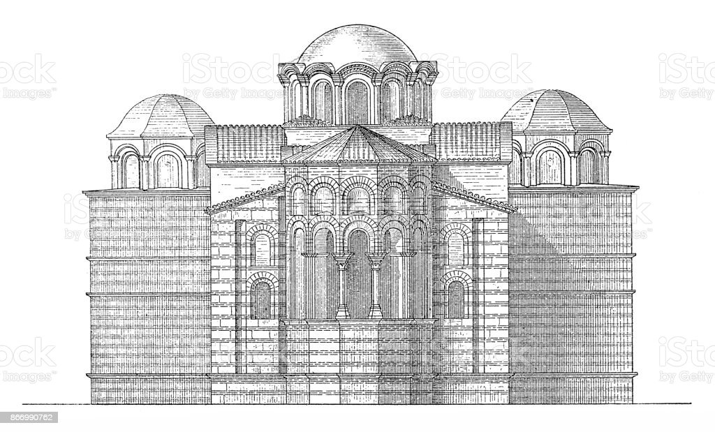 Istanbul, Theotokos of Lips (Fenari Isa Cami), reconstruction view vector art illustration