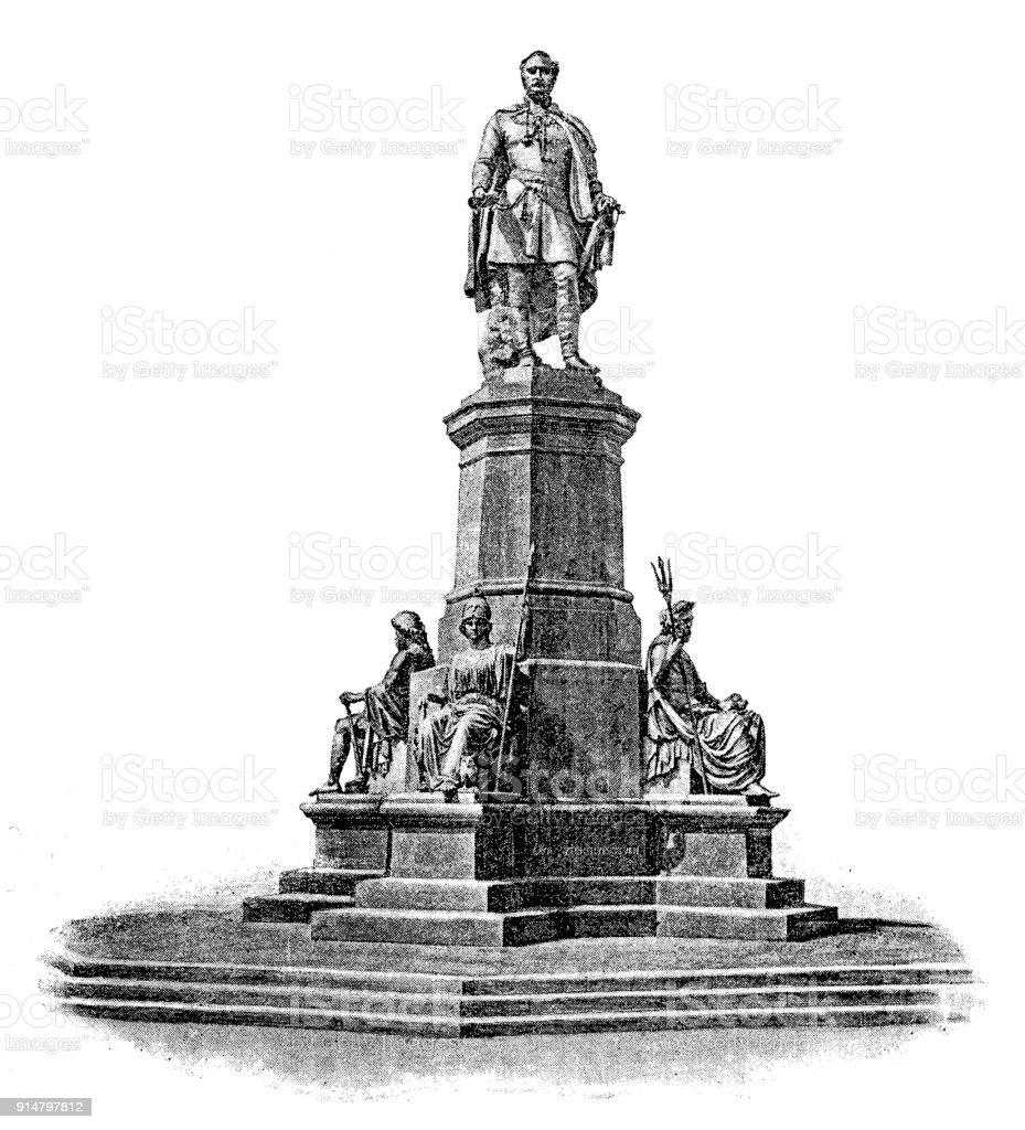 Istvan Szechenyi Monument at Roosevelt Square in Budapest, Hungary vector art illustration
