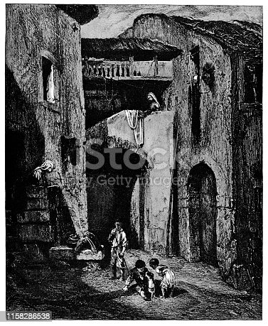 Italian Courtyard by Alexandre-Gabriel Decamps (circa 19th century). Vintage etching circa late 19th century.