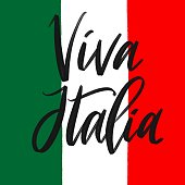 Italian flag with challygraphy Viva Italia, Italy on white background