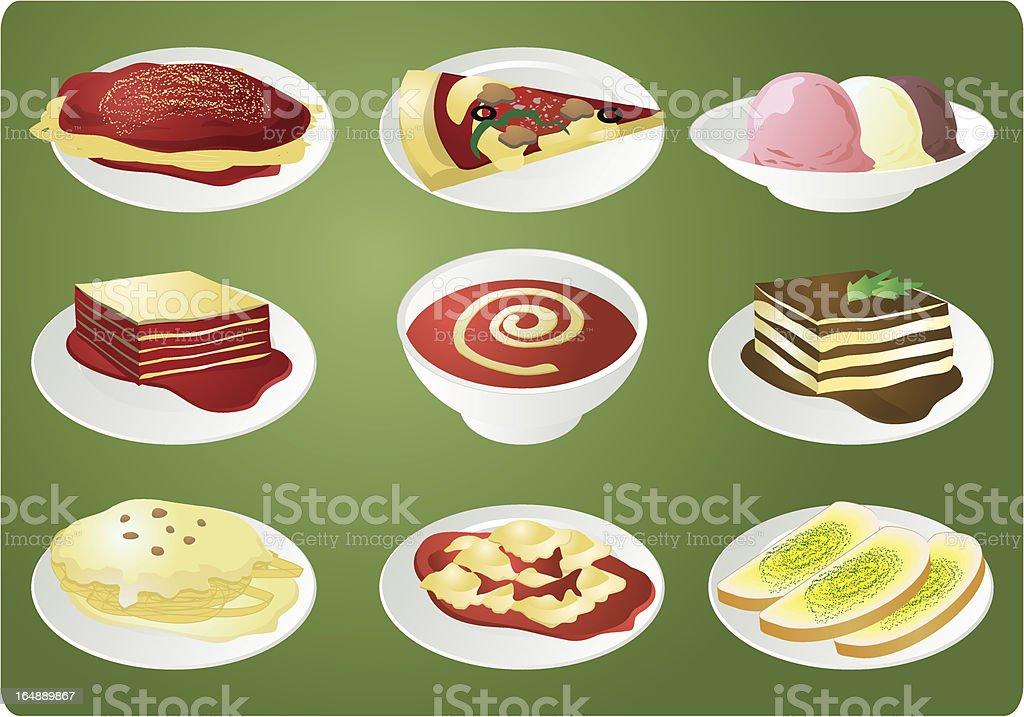 Italian food vector art illustration