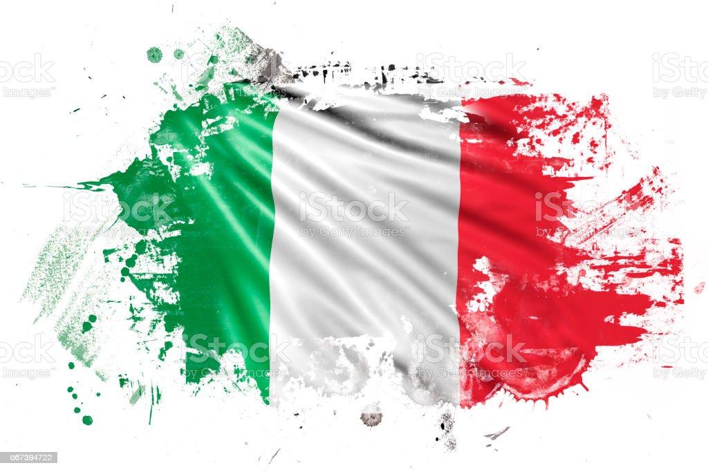 Italian Ink Grunge Flag vector art illustration
