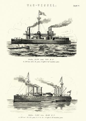 Italian navy warships ironclad Caio Duilio and Italia-class ironclad