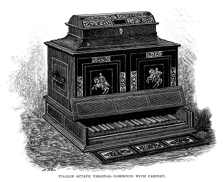 Italian Octave Virginal combined with cabinet