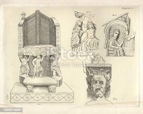 Vintage engraving of Italian sculpture .No. 1. Cathedra from San Nicolo da Bari.  No. 2. Fragment of a Basso-rilievo on the outside of the Duomo at iiitetto.  No. 3. Fragment of a Basso-rilievo from the Pulpit in the Duomo at Bitonto.  No. 4. Corbel from Castel del Monte Illustration by Charles Perkins