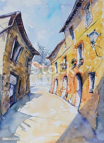 Original watercolor painting of Italian street in Tuscan village San Gusme,Italy