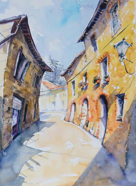 ilustrações de stock, clip art, desenhos animados e ícones de italian village - going inside eye