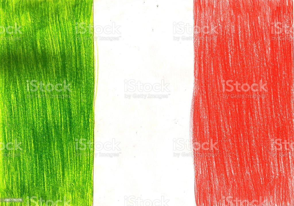 Italien Italienische Flagge Bleistiftzeichnung Kinder Stil ...