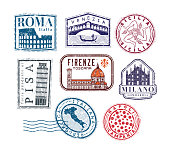 Italian Cities and Regions grunge travel rubber stamps