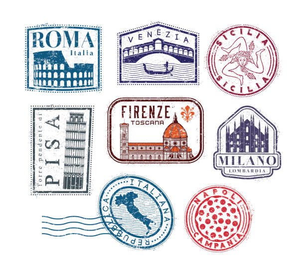 italy grunge travel rubber stamps - sicily stock illustrations