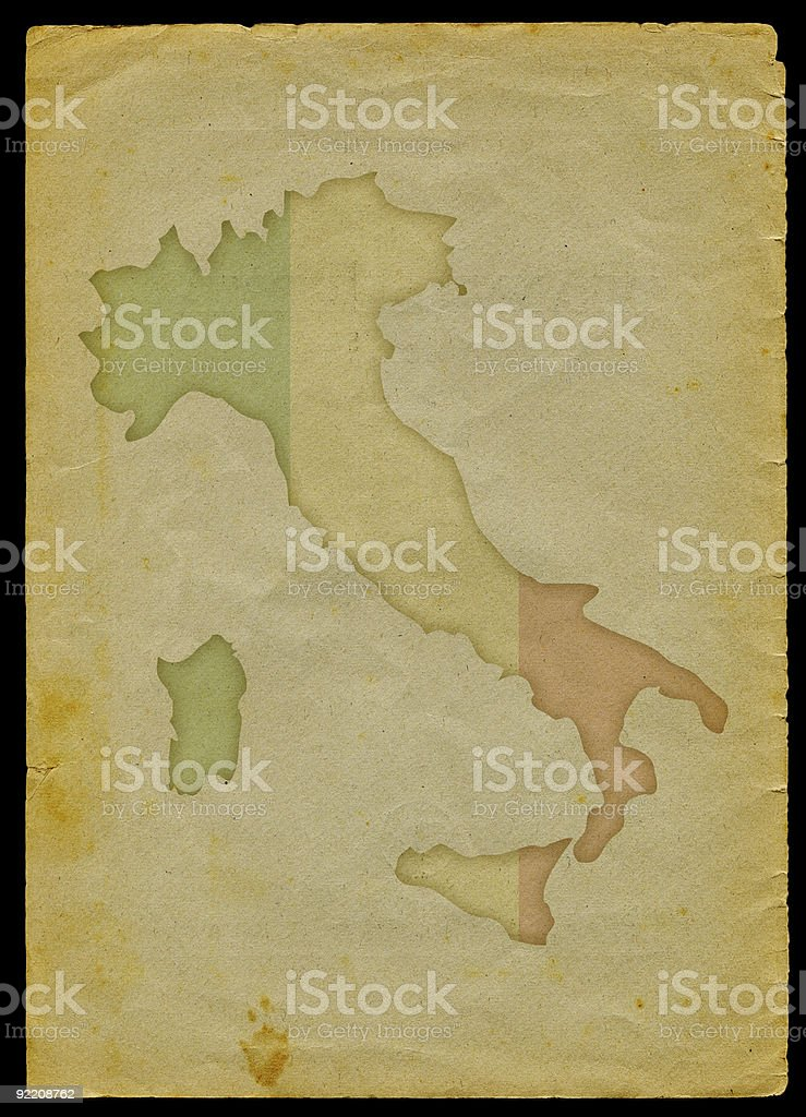Italy map on old paper vector art illustration