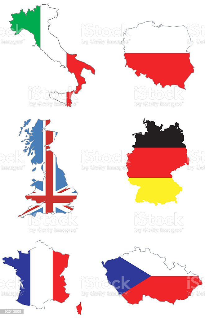 Italy Poland Uk Germany France Czech Republic Map Stock Vector Art