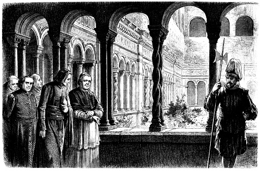 Italy, Rome, Franz Liszt (1811-1886) and Pope Pius IX (1792-1878) in the cloister of San Giovanni in Laterano, woodcut, 1865 19th Century