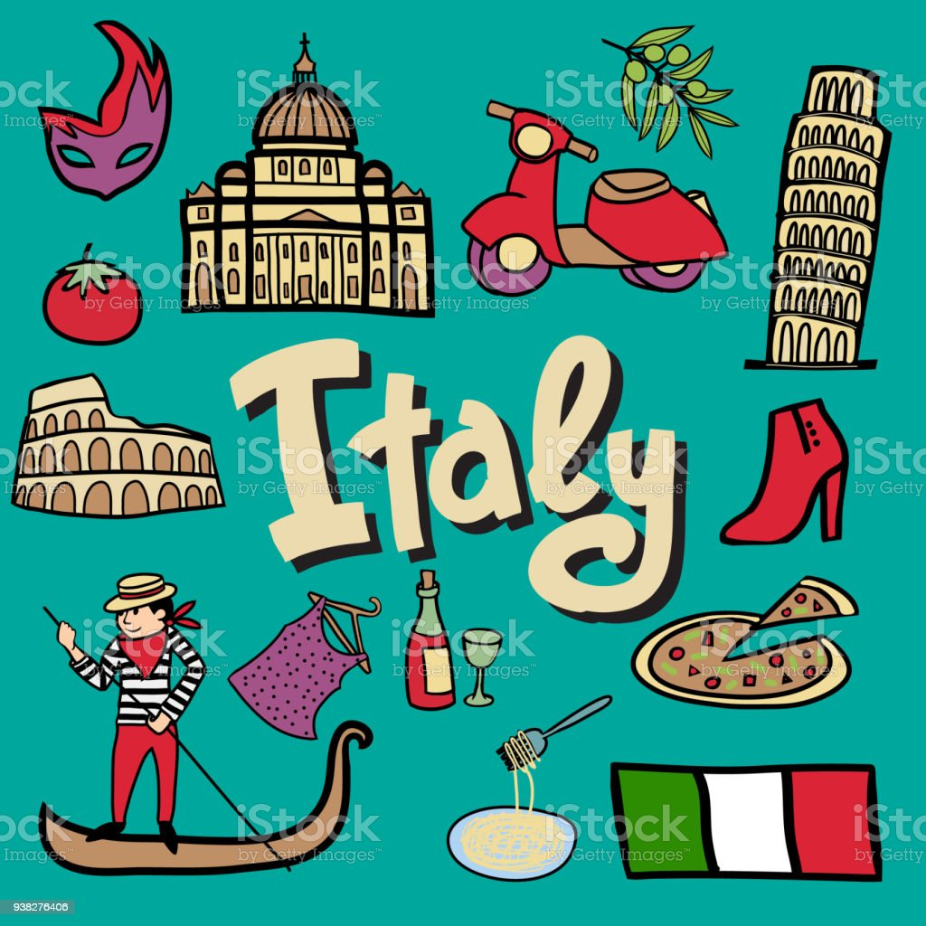 Italy Symbols Cartoon Stock Vector Art More Images Of Architecture