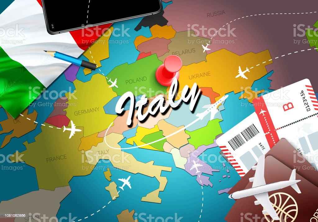 Map Of France N Italy.Italy Travel Concept Map Background With Planes Tickets Visit Italy