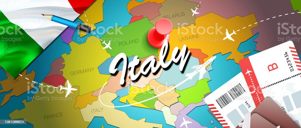 Italy Travel Concept Map Background With Planes Tickets