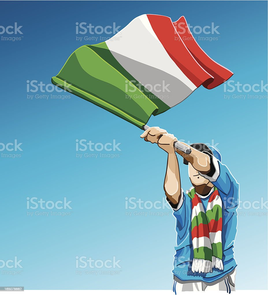 Italy Waving Flag Soccer Fan royalty-free italy waving flag soccer fan stock vector art & more images of adult
