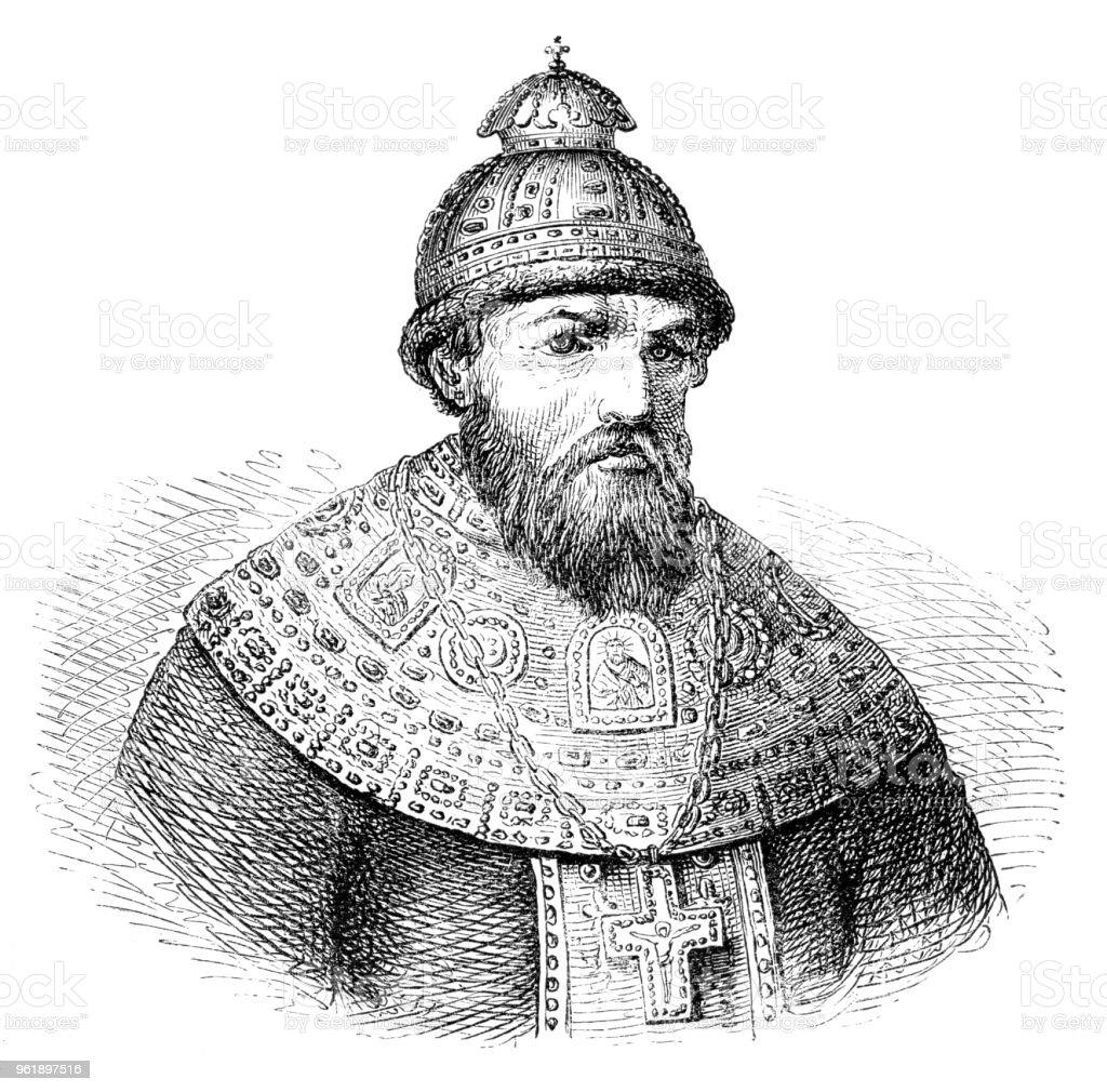 Ivan IV Vasilyevich the terrible prince of Moscow portrait illustration 1882 vector art illustration