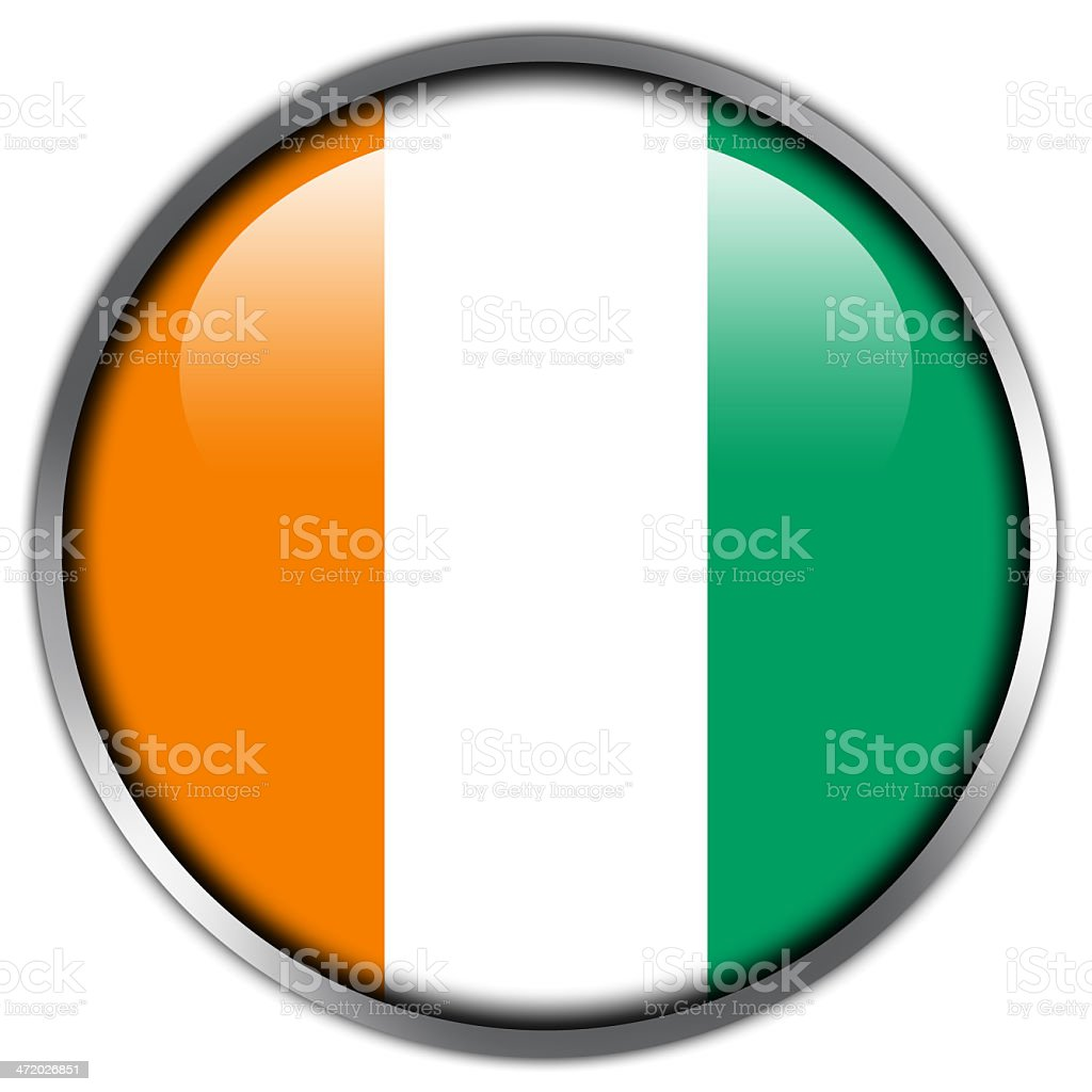 Ivory Coast Flag glossy button royalty-free stock vector art