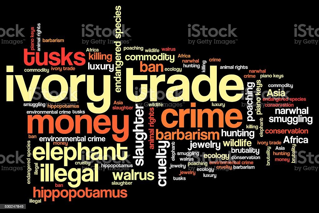 Ivory trade words vector art illustration