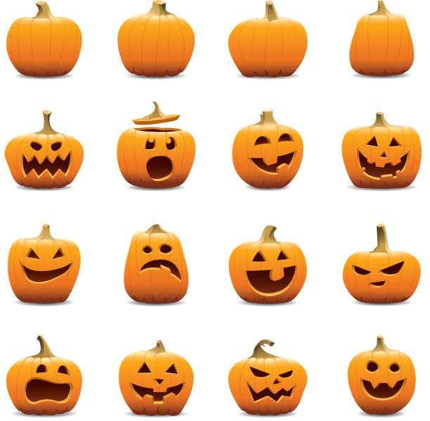 Jack O Lantern icons Vector icons of Jack o Lantern pumpkins. Includes an EPS8, a hi res JPG, transparent PNG, and versions without the shadows. pumpkin stock illustrations