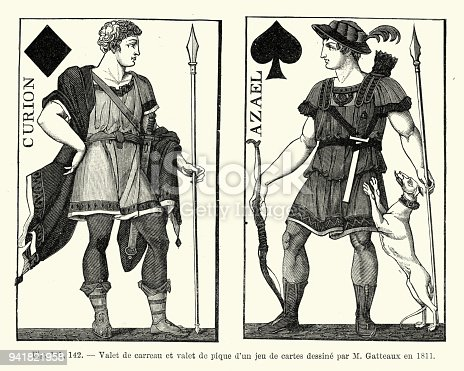 Vintage engraving of a Jack of Diamonds and Jack of Spades, early 19th Century