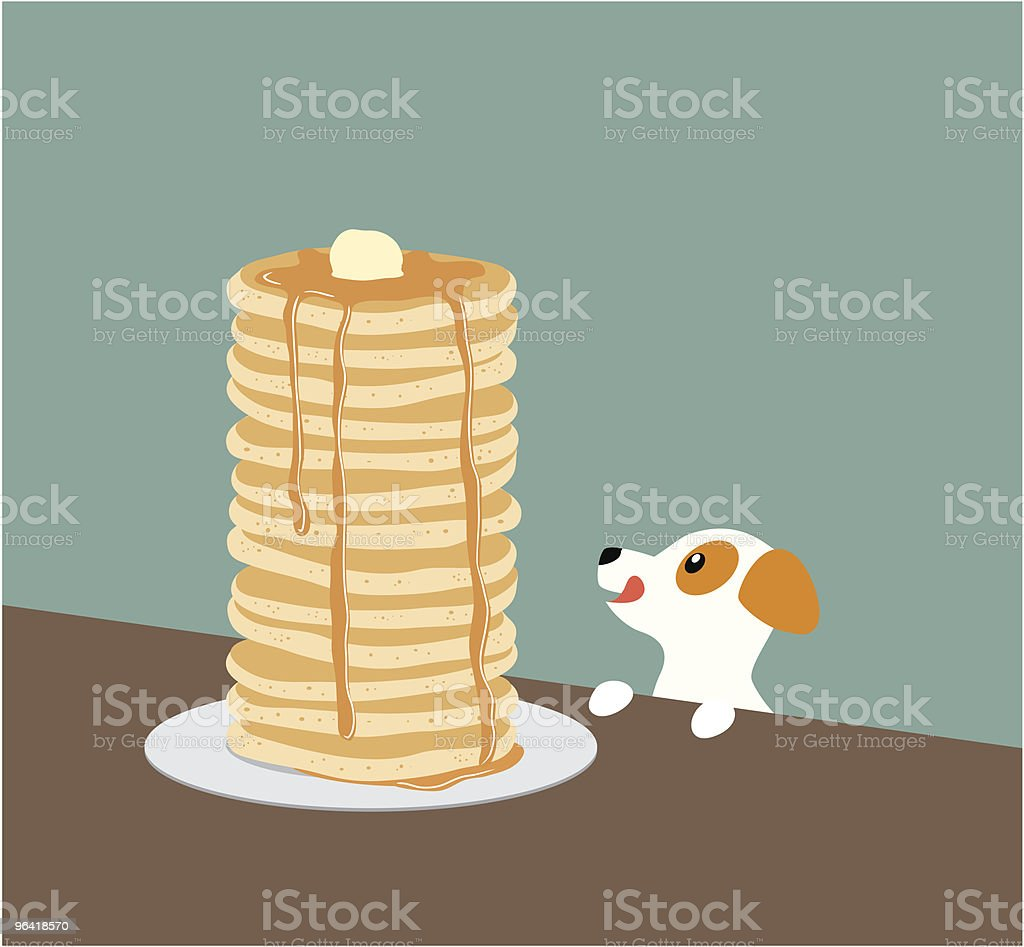 Jack Russell Terrier with Pancakes vector art illustration