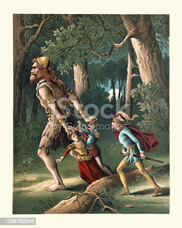 istock Jack the Giant Killer, rescuing people from the evil giant, Fairy tale 1289780345