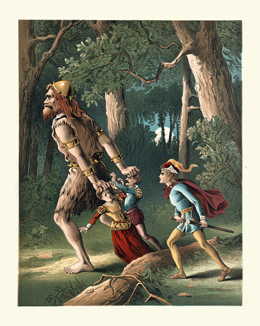 Vintage colour illustration from the story Jack the Giant Killer, a Cornish fairy tale and legend about a young adult who slays a number of bad giants during King Arthur's reign.