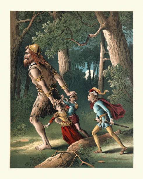 Jack the Giant Killer, rescuing people from the evil giant, Fairy tale vector art illustration