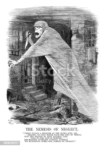 Vintage engraving of a satirical cartoon about the Jack the Ripper murders in Victorian London.  1888