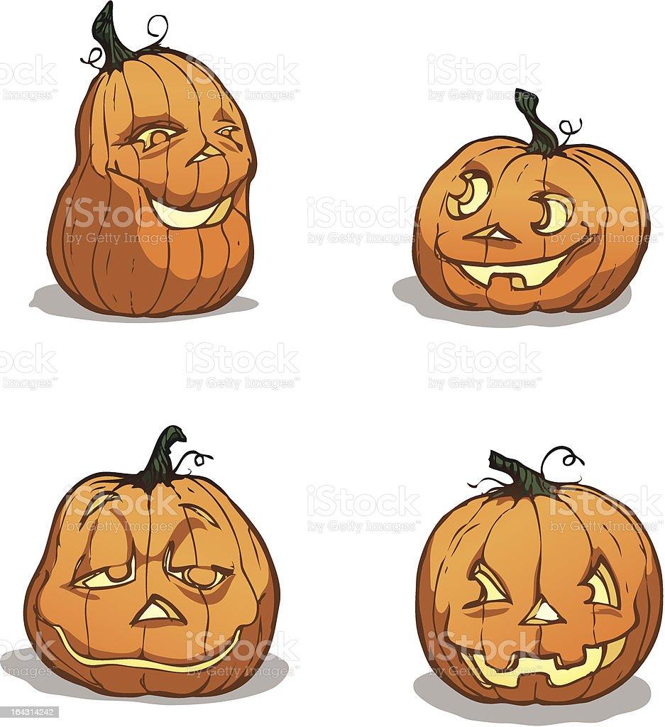 Jack-O'-Lanterns royalty-free stock vector art