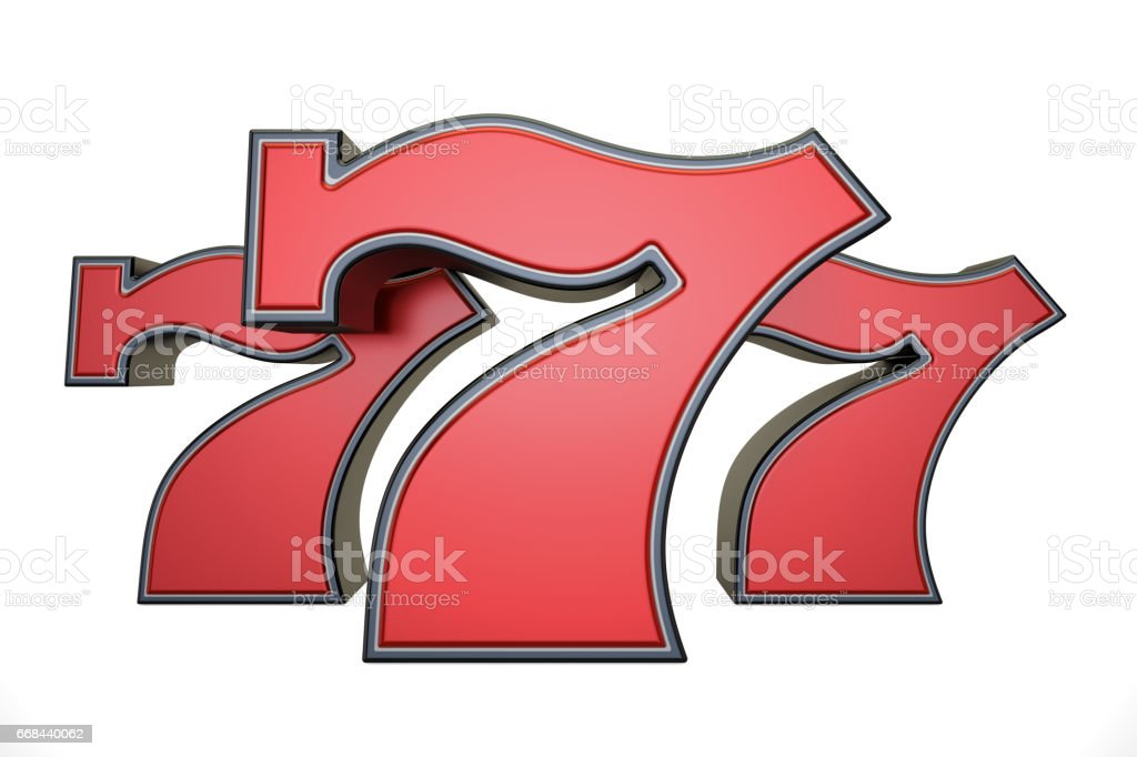 777 jackpot symbol, 3D rendering isolated on white background vector art illustration