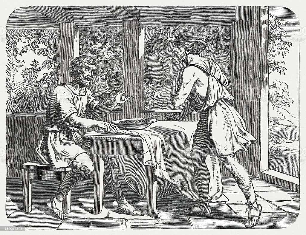 Jacob and Esau (Genesis 25, 29-34), wood engraving, published 1877 vector art illustration