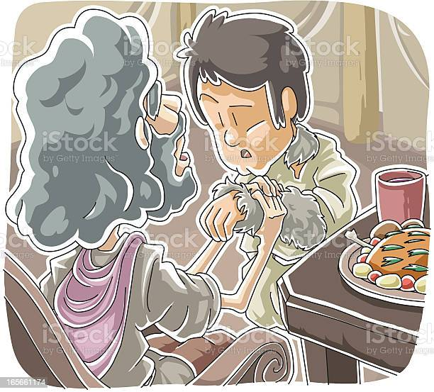 Jacob Gets Isaacs Blessing Stock Illustration - Download Image Now