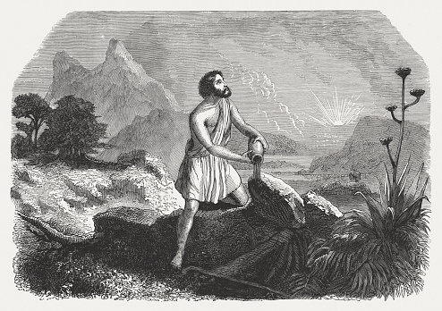 Jacob pouring oil on the stone (Genesis 28), published 1886