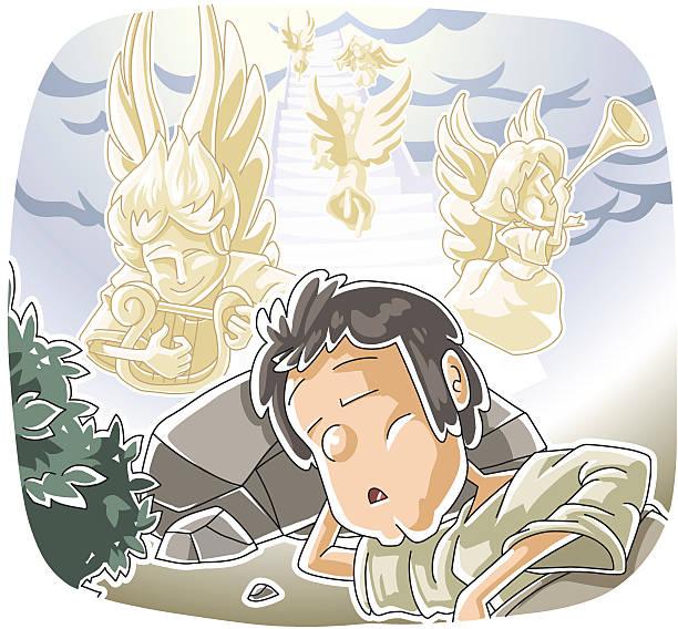 Jacob's dream vector art illustration