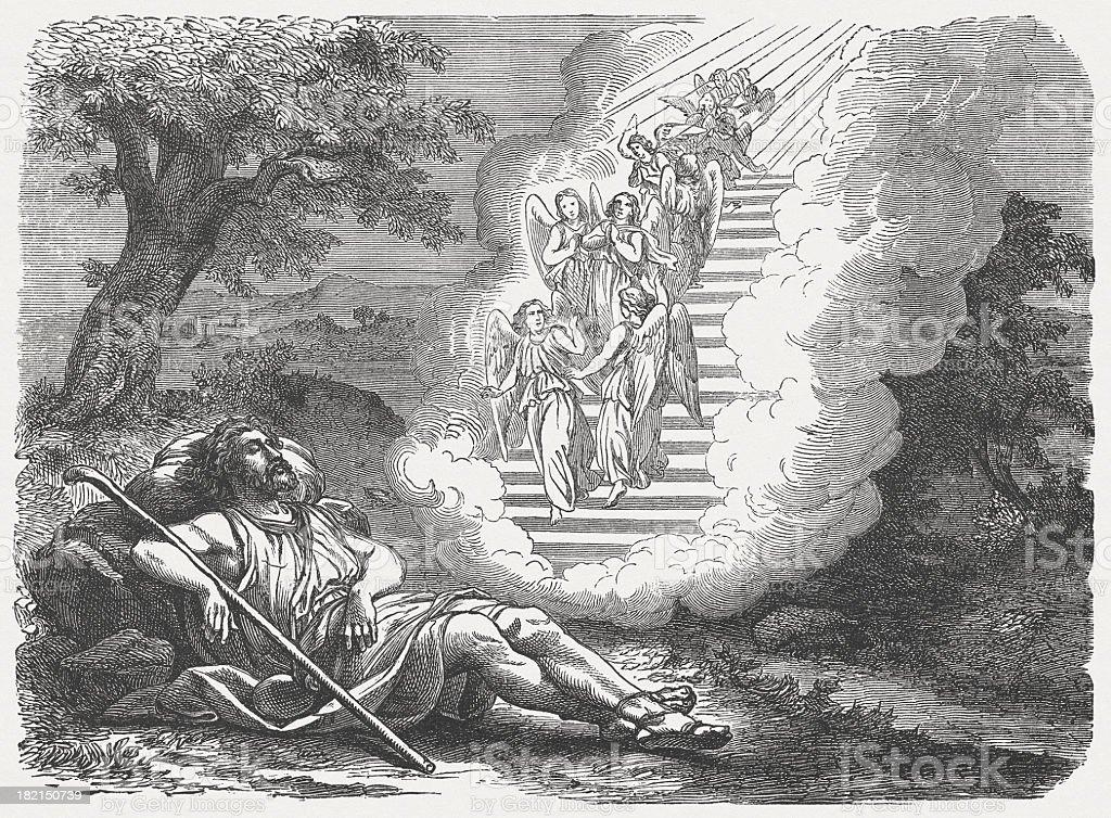 Jacob's Dream (Genesis, 28, 11-14) vector art illustration