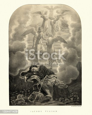 Vintage engraving of Jacob's vision of a ladder to heaven. Jacob's Ladder is a ladder leading to heaven that was featured in a dream the biblical Patriarch Jacob had during his flight from his brother Esau in the Book of Genesis.