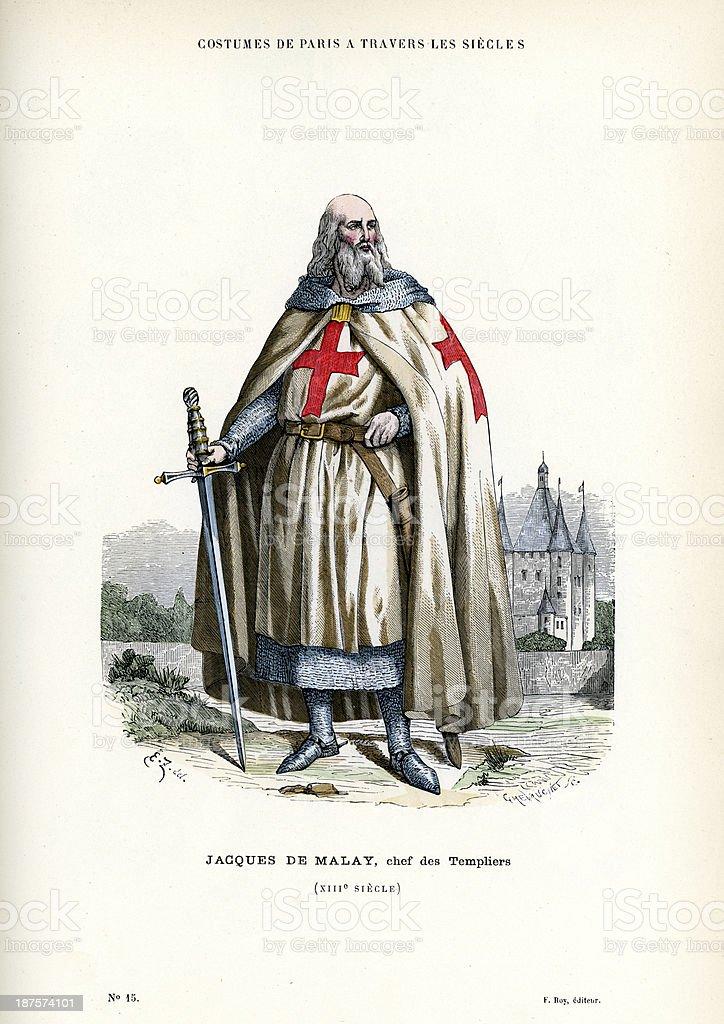 Jacques de Molay - Knight Templar royalty-free stock vector art